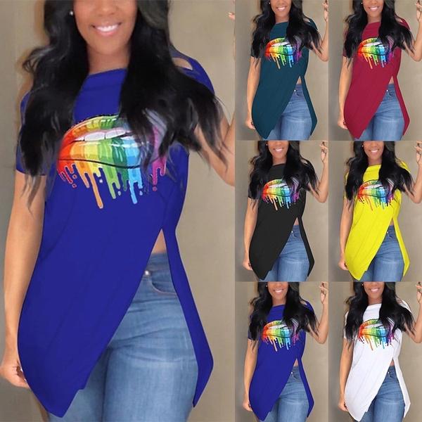 blouse, Summer, Fashion, lipprintshirt