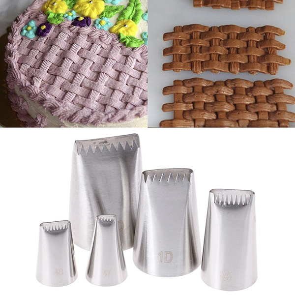 5pcs Basket Weave Tips Icing Piping Nozzle Stainless Steel Writing Tube Nozz/_hg