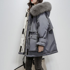womendownjacket, fur, Winter, solidcolorcoat