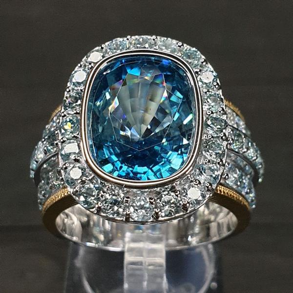 Silver Aquamarine Elegant Diamond Stone Ring Anniversary Gift Engagement Bridal Wedding Woman Ring Jewelry Gift