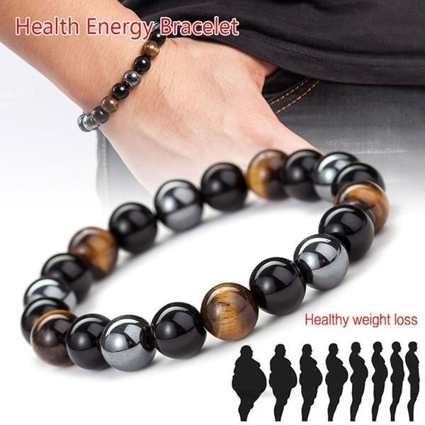 Magnetic Hematite Stone Bead Bracelets HealthCare Magnet Men Weight Loss Jewe/_dr