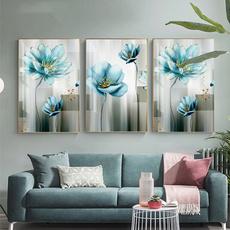 Blues, Flowers, Wall Art, Home Decor