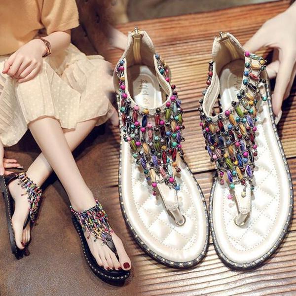 bohemia, beach shoes, Flip Flops, Fashion