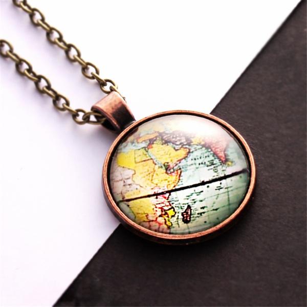 minimalist, Men  Necklace, worldmap, Gifts