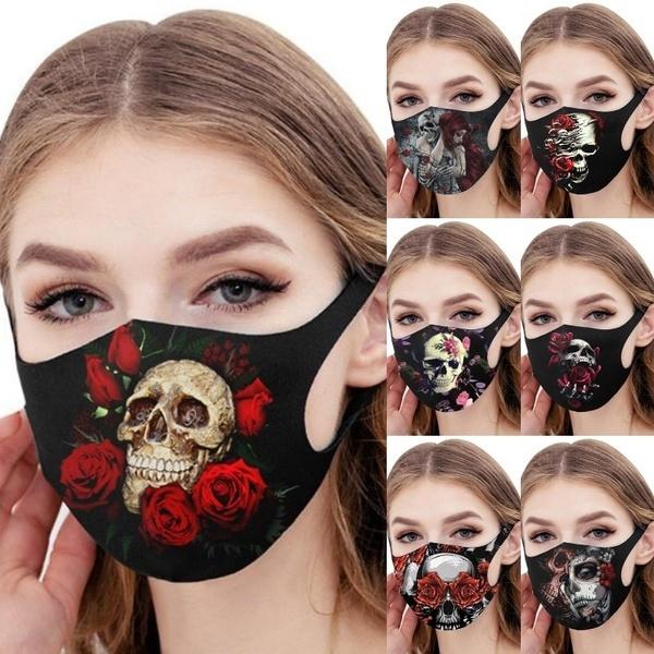 Fashion, mouthmask, Rose, skull