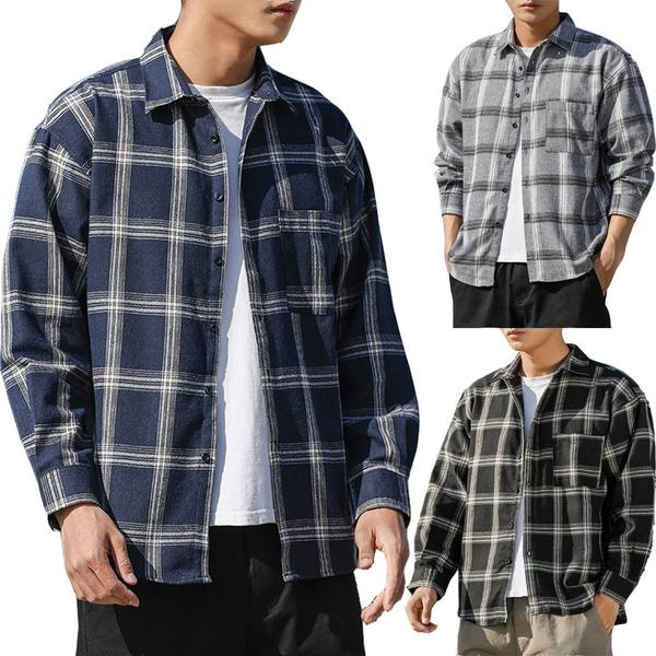 Stand Collar, Plus Size, plaid, Shirt
