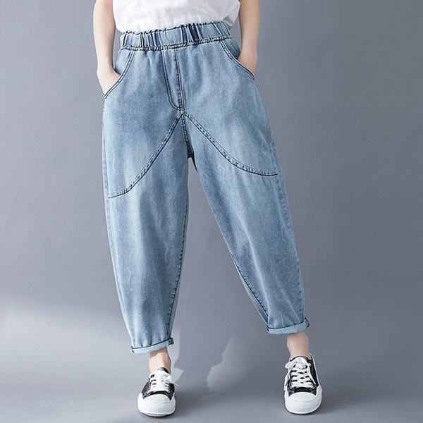 capripant, Denim pants, elastic waist, womensdenimpant