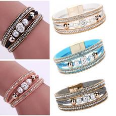 DIAMOND, Pearl Bracelet, leather, Magnetic