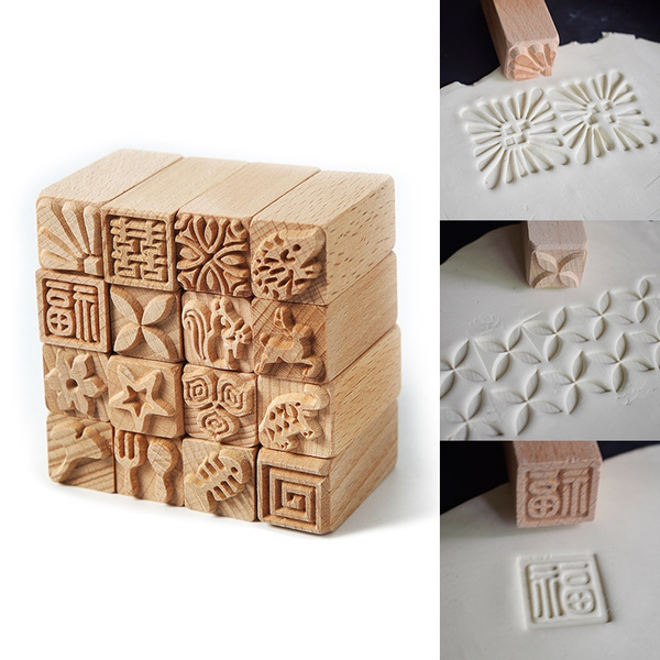 claypottery, woodenseal, Stamps, handcarved