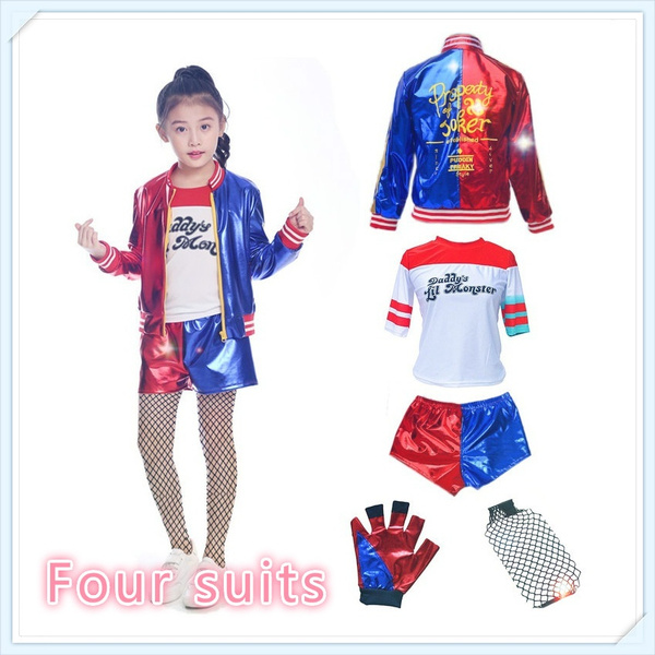 Kids Harley Quinn suicide squad Halloween cosplay party bomber jacket 5-13 YEAR