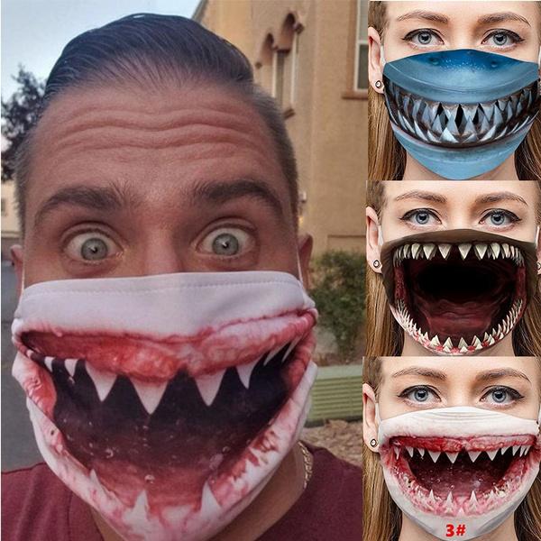 Funny, Shark, Fashion, mouthmask
