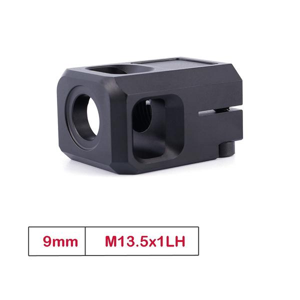 9mm M13.5x1LH Thread Muzzle Brake 7075 Aluminium Glock Muzzle Device Compensator