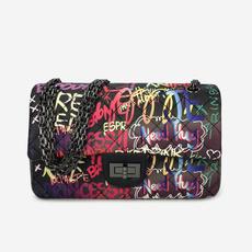 Fashion women's handbags, vintageplaidchainbag, graffiti bag, Chain