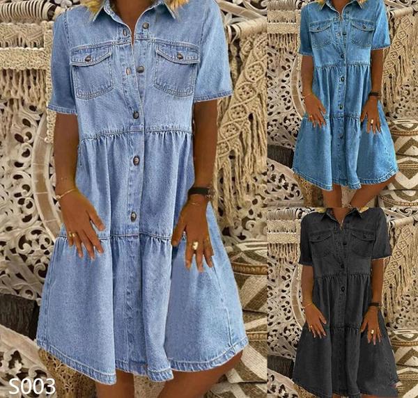 Summer, Jeans Dress, Shorts, Sleeve