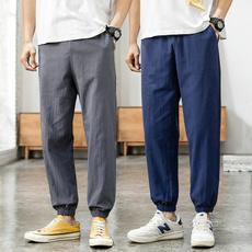 Summer, trousers, Cotton, Elastic