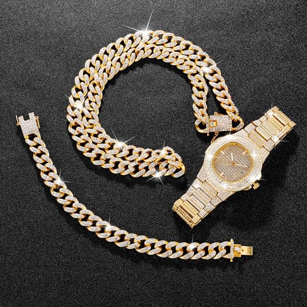 hip hop jewelry, gold, Bracelet, Watch