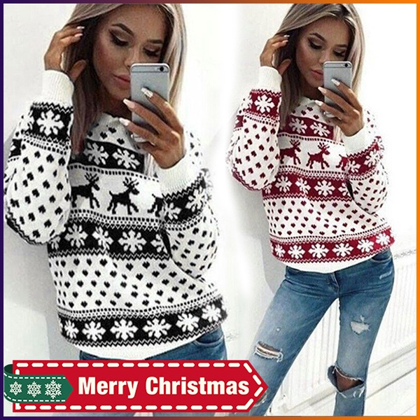 Women Sweater, long sleeve sweater, Snowflakes, Tops