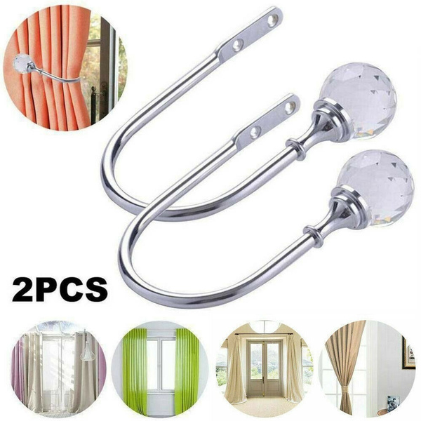 2Pcs Silver Metal Crystal Curtain Holdback Wall Tie Backs Hooks Hanger Holder Q2