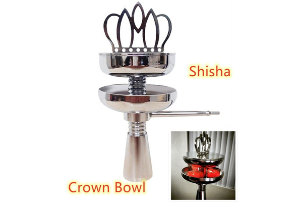 New Silver Crown Metal Bowl Hookah Shisha Pipe Vapour No Foil Needed