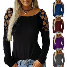 hollowouttshirt, Fashion, Cotton T Shirt, Long Sleeve