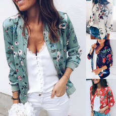 casual coat, Plus Size, Floral print, Fashion