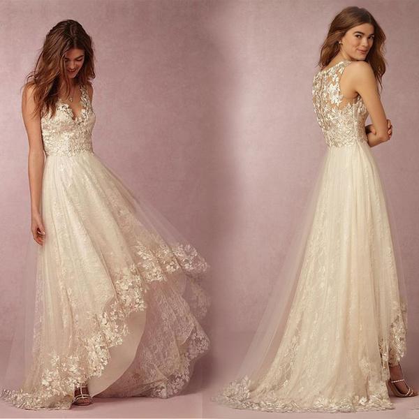 sleeveless, sexy, Lace, Deep V-neck Dress