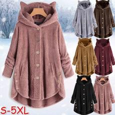 Casual Jackets, Plus Size, cute, Fleece Hoodie