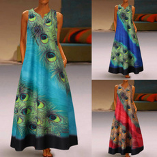 peacock, long skirt, printeddres, XL