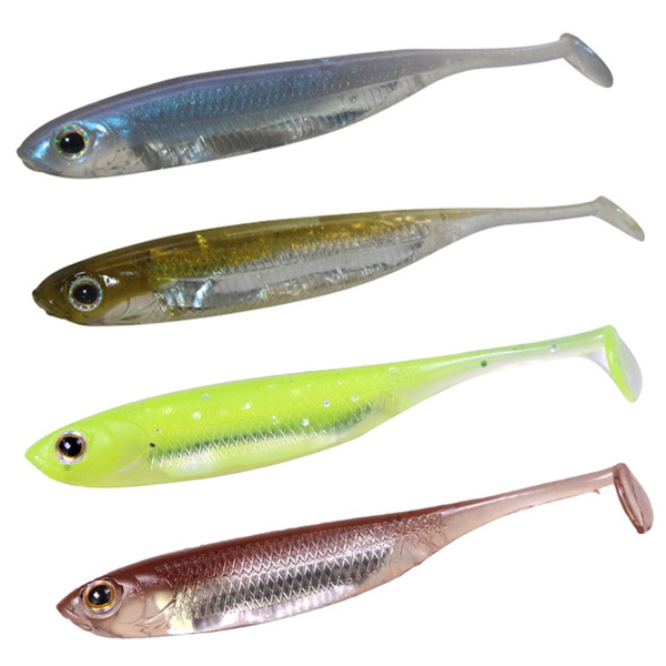 10x Soft Plastic Minnow Lures Paddle Tail Shad Grub T Tail Bass Trout Salmon