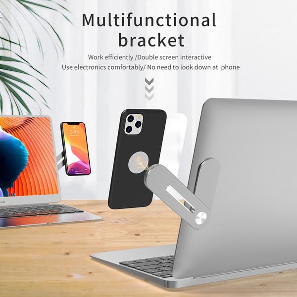 Laptop, aluminumalloybracket, miniphoneholder, magneticcellphonemount