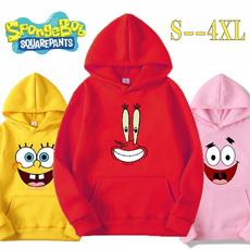 hoodiesformen, cartoonprintedhoodie, Sponge Bob, purecoloredhoodie
