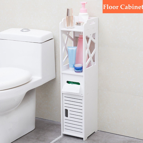 Slim Bathroom Storage Corner Floor, Narrow Cabinet Bathroom