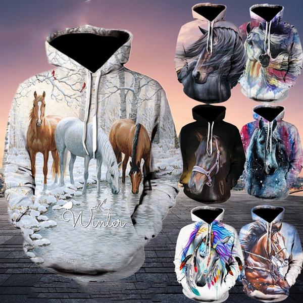 Hip-hop Style, 3D hoodies, horse, Fashion
