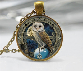 Owl, Chain Necklace, Gifts, wicca