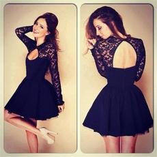 Mini, Fashion, Lace, Sleeve