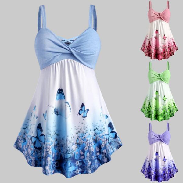 butterfly, Vest, Plus Size, crop top