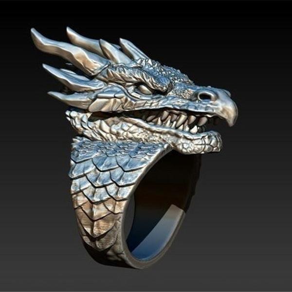 ringsformen, Silver Jewelry, dragonring, Men