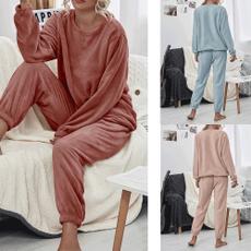 women's pajamas, toptrousers2piecesset, Winter, Sleeve
