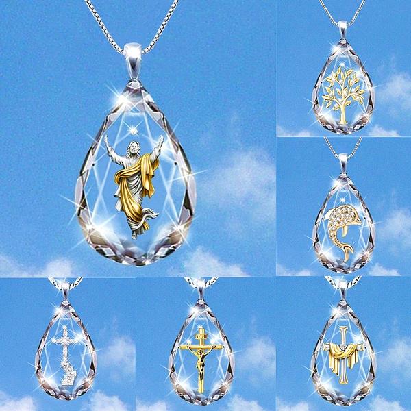 crystal pendant, Engagement, jesus, Jewelry