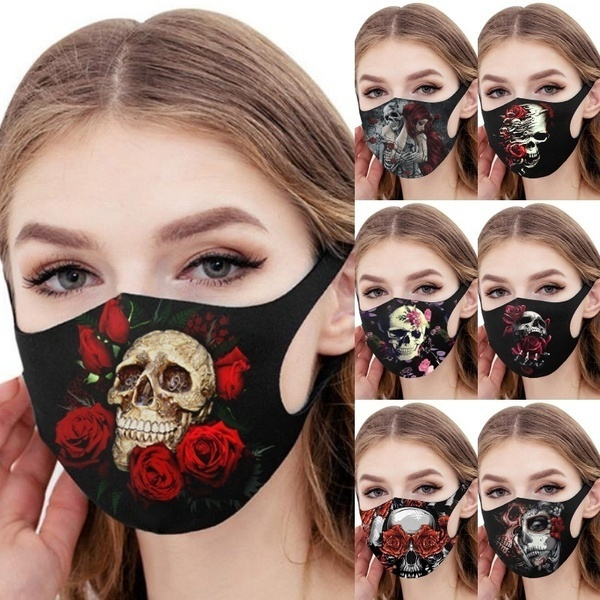 Fashion, mouthmask, Rose, skull