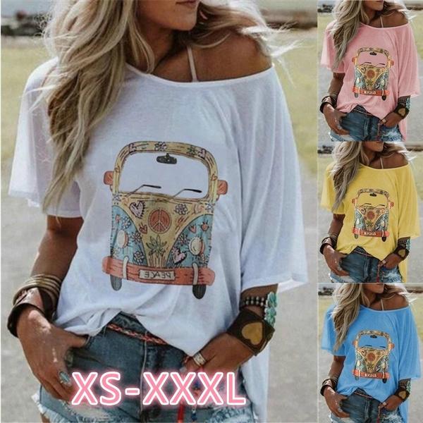 Summer, off shoulder top, Plus Size, print t-shirt