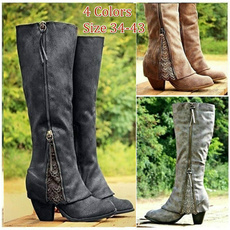 casual shoes, Knee High Boots, Lace, Womens Shoes
