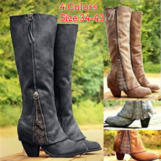 casual shoes, Knee High Boots, Plus Size, Lace