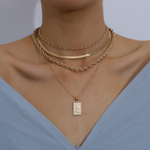 Chain Necklace, Jewelry, Chain, shortstyle