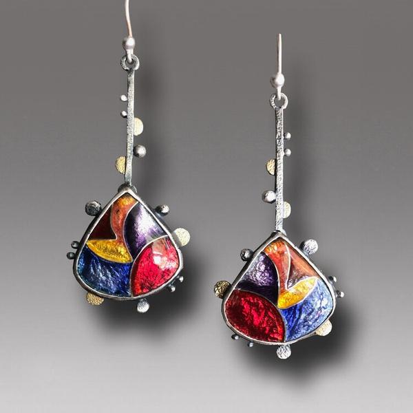 bohemiandrop, Colorful, enamel, Earring