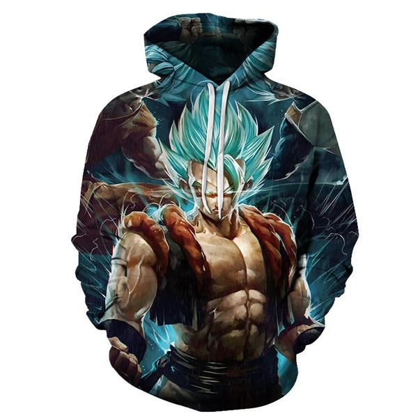 3D hoodies, supersaiyanhoodie, 3dprintgokupullover, dragonballzhoodie