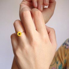 wedding ring, Sunflowers, Silver Ring, Engagement Ring