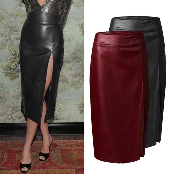 long skirt, splitskirt, Office, high waist skirt