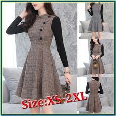woolen, Fashion, Stitching, Plaid Dress