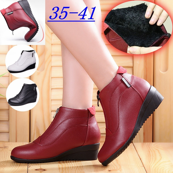 ankle boots, wedge, Winter, leather